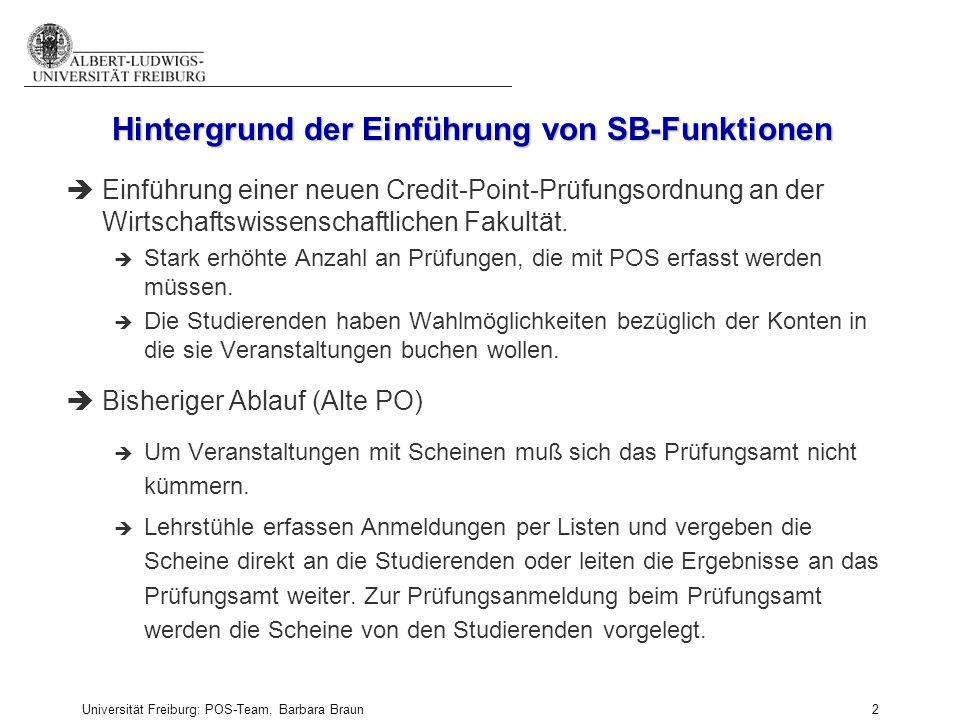 Universität Freiburg: POS-Team, Barbara Braun und Prüfungsamt der Fak. f. Angew. Wiss., Martina Sexauer 2 Hintergrund der Einführung von SB-Funktionen