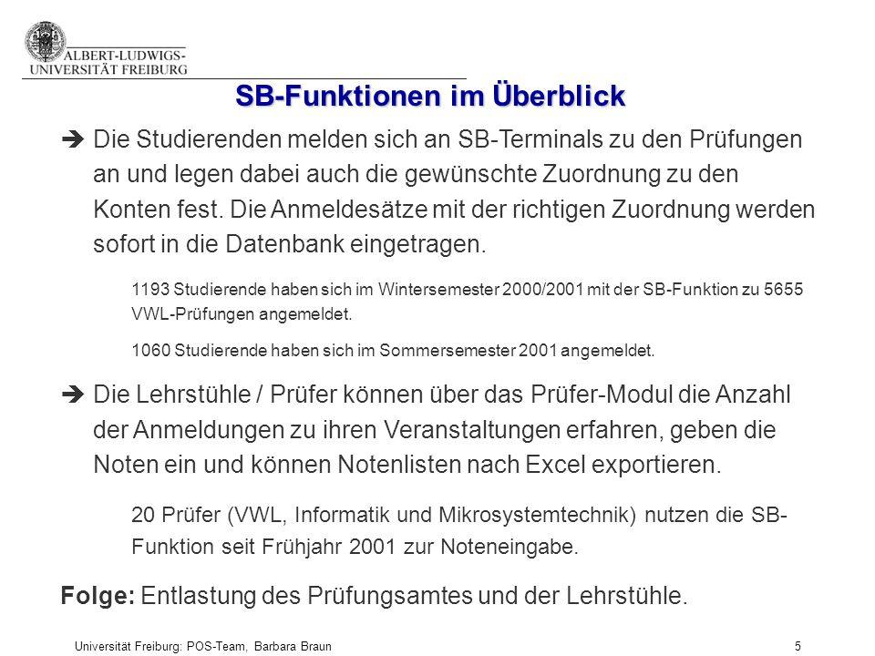 Universität Freiburg: POS-Team, Barbara Braun und Prüfungsamt der Fak. f. Angew. Wiss., Martina Sexauer 5 SB-Funktionen im Überblick èDie Studierenden