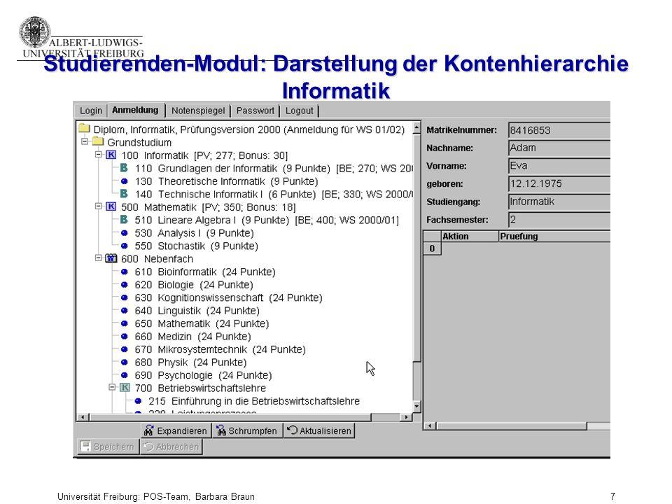 Universität Freiburg: POS-Team, Barbara Braun und Prüfungsamt der Fak. f. Angew. Wiss., Martina Sexauer 7 Studierenden-Modul: Darstellung der Kontenhi