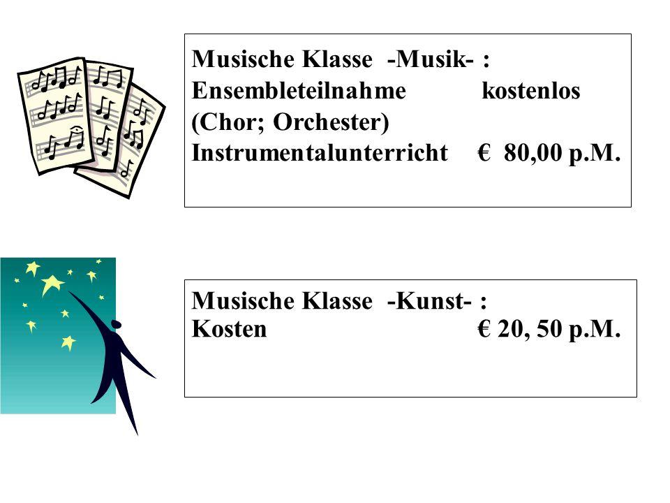 Musische Klasse -Kunst- : Kosten € 20, 50 p.M.