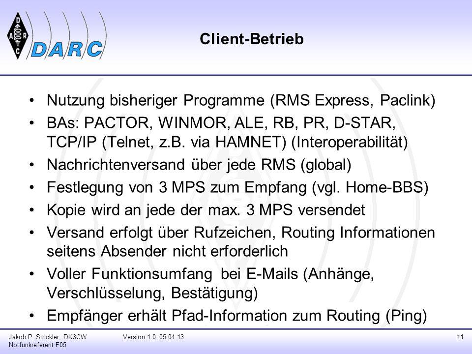 Client-Betrieb Nutzung bisheriger Programme (RMS Express, Paclink) BAs: PACTOR, WINMOR, ALE, RB, PR, D-STAR, TCP/IP (Telnet, z.B. via HAMNET) (Interop