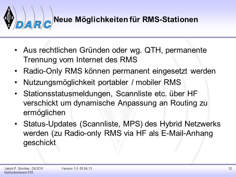 Neue Möglichkeiten für RMS-Stationen Aus rechtlichen Gründen oder wg. QTH, permanente Trennung vom Internet des RMS Radio-Only RMS können permanent ei
