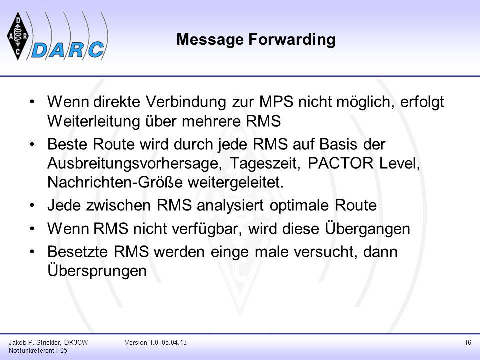 Message Forwarding Wenn direkte Verbindung zur MPS nicht möglich, erfolgt Weiterleitung über mehrere RMS Beste Route wird durch jede RMS auf Basis der
