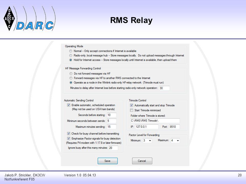RMS Relay Jakob P. Strickler, DK3CW Notfunkreferent F05 Version 1.0 05.04.1320