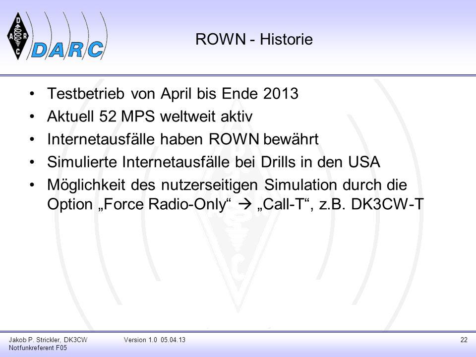 ROWN - Historie Testbetrieb von April bis Ende 2013 Aktuell 52 MPS weltweit aktiv Internetausfälle haben ROWN bewährt Simulierte Internetausfälle bei