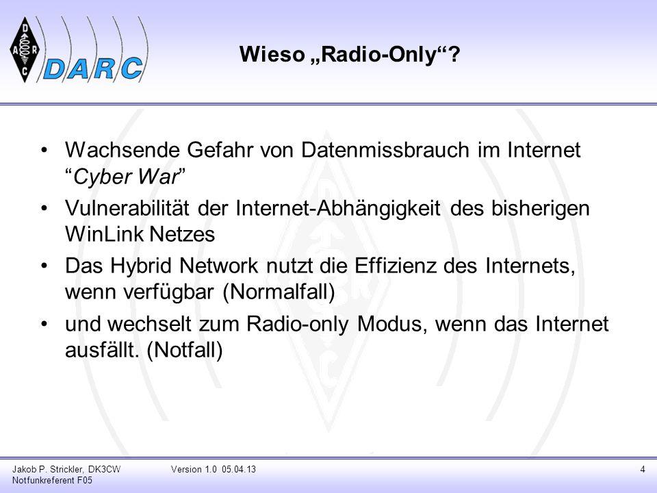 """Wieso """"Radio-Only""""? Wachsende Gefahr von Datenmissbrauch im Internet """"Cyber War"""" Vulnerabilität der Internet-Abhängigkeit des bisherigen WinLink Netze"""