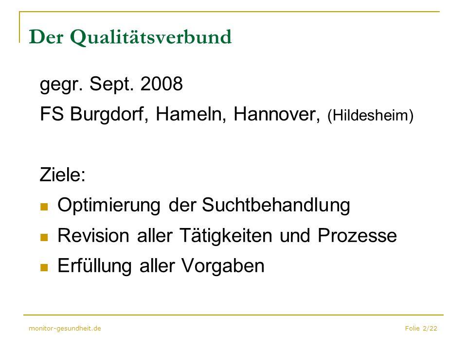 Folie 2/22monitor-gesundheit.de Der Qualitätsverbund gegr. Sept. 2008 FS Burgdorf, Hameln, Hannover, (Hildesheim) Ziele: Optimierung der Suchtbehandlu