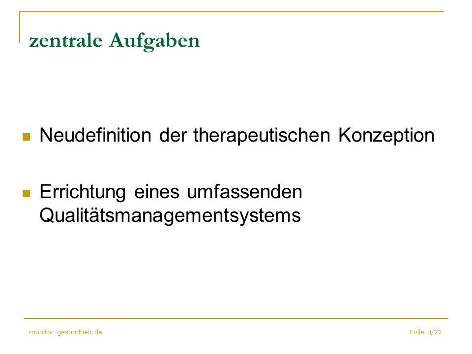 Folie 3/22monitor-gesundheit.de zentrale Aufgaben Neudefinition der therapeutischen Konzeption Errichtung eines umfassenden Qualitätsmanagementsystems