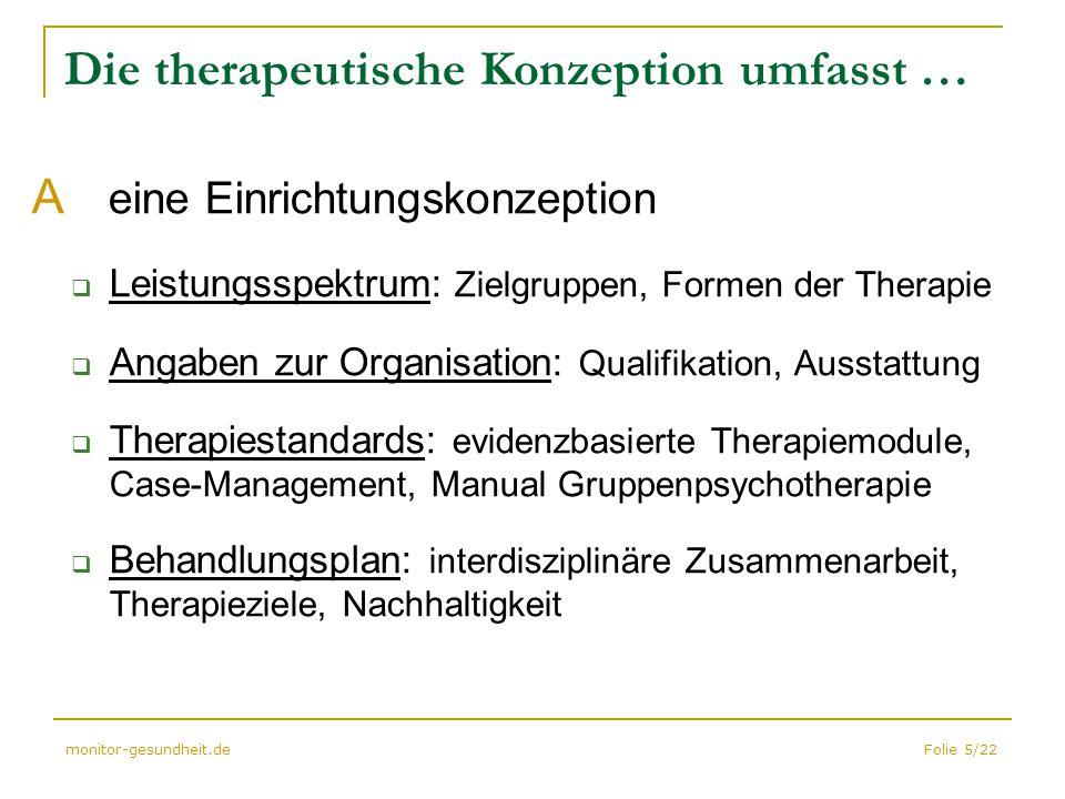 Folie 5/22monitor-gesundheit.de Die therapeutische Konzeption umfasst … A eine Einrichtungskonzeption  Leistungsspektrum: Zielgruppen, Formen der The
