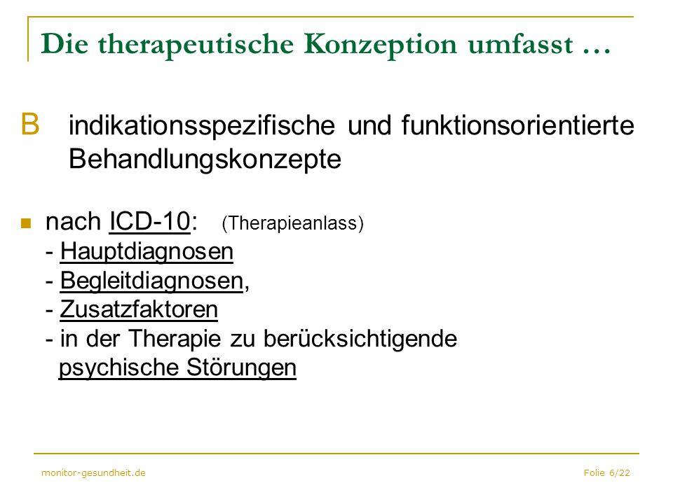 Folie 6/22monitor-gesundheit.de Die therapeutische Konzeption umfasst … B indikationsspezifische und funktionsorientierte Behandlungskonzepte nach ICD