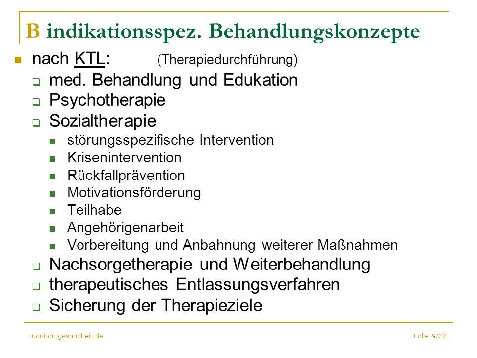 Folie 9/22monitor-gesundheit.de B indikationsspez. Behandlungskonzepte nach KTL: (Therapiedurchführung)  med. Behandlung und Edukation  Psychotherap