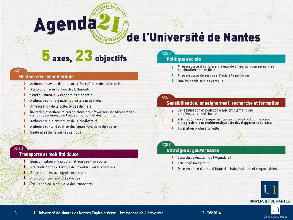 La Mission Université 21 21/08/2014L'Université de Nantes et Nantes Capitale Verte – Présidence de l'Université3