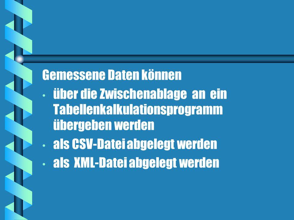 Gemessene Daten können über die Zwischenablage an ein Tabellenkalkulationsprogramm übergeben werden als CSV-Datei abgelegt werden als XML-Datei abgelegt werden
