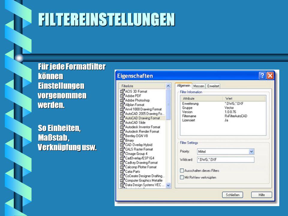 FILTEREINSTELLUNGEN Für jede Formatfilter können Einstellungen vorgenommen werden.