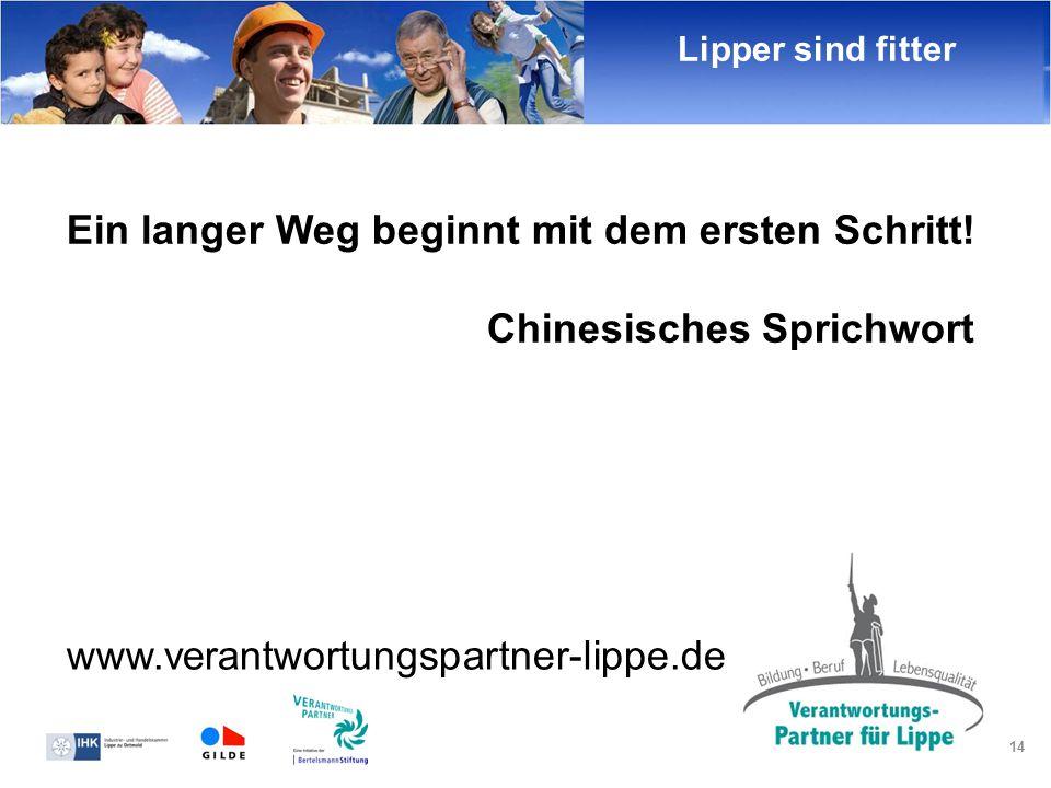 14 Ein langer Weg beginnt mit dem ersten Schritt! Chinesisches Sprichwort Lipper sind fitter www.verantwortungspartner-lippe.de