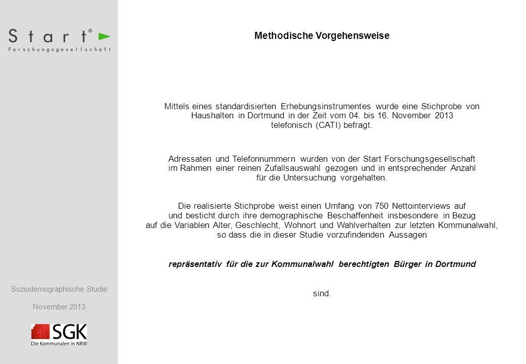 Soziodemographische Studie November 2013 Methodische Vorgehensweise Mittels eines standardisierten Erhebungsinstrumentes wurde eine Stichprobe von Haushalten in Dortmund in der Zeit vom 04.