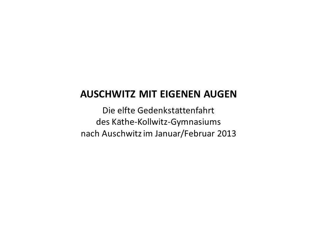 Ende Januar 2013 fuhr eine Gruppe von 27 Schülerinnen und Schülern der Oberstufe des Käthe-Kollwitz-Gymnasiums nach Oświęcim in Polen, um das ehemalige deutsche Konzentrations- lager Auschwitz zu besuchen.