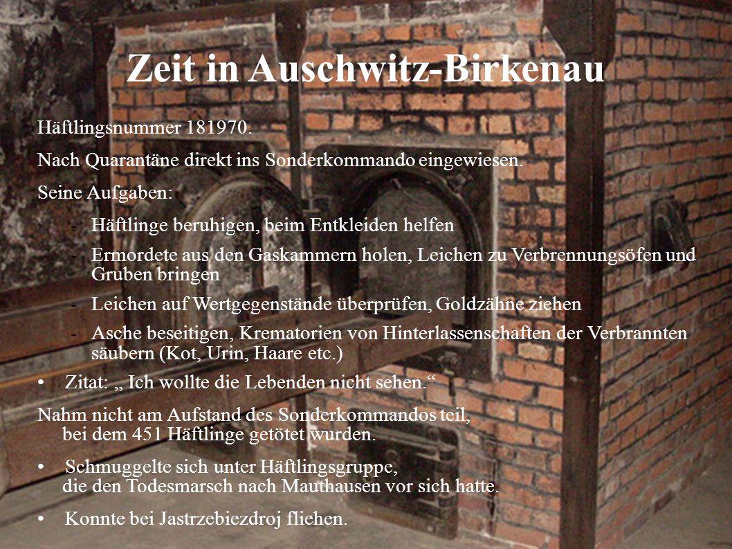 Zeit in Auschwitz-Birkenau Häftlingsnummer 181970. Nach Quarantäne direkt ins Sonderkommando eingewiesen. Seine Aufgaben: -Häftlinge beruhigen, beim E