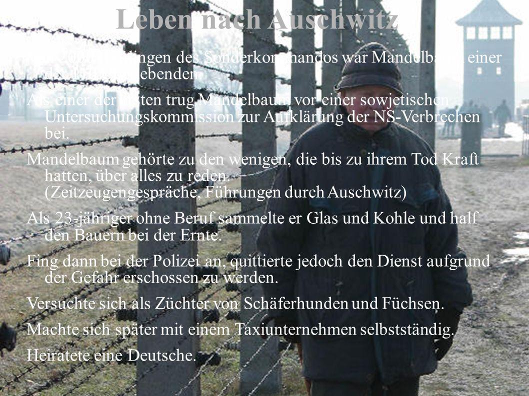 Leben nach Auschwitz Von 2000 Häftlingen des Sonderkommandos war Mandelbaum einer der 110 Überlebenden.