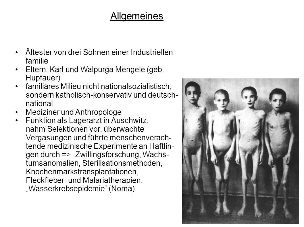 Allgemeines Ältester von drei Söhnen einer Industriellen- familie Eltern: Karl und Walpurga Mengele (geb. Hupfauer) familiäres Milieu nicht nationalso