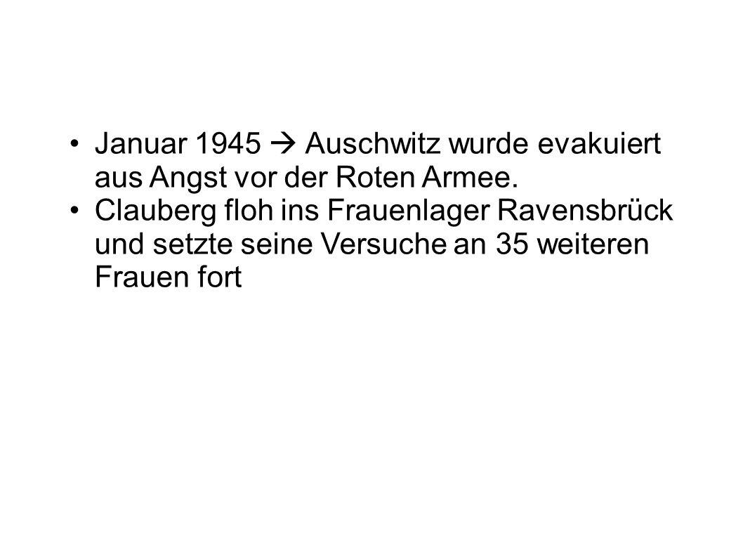 Januar 1945  Auschwitz wurde evakuiert aus Angst vor der Roten Armee. Clauberg floh ins Frauenlager Ravensbrück und setzte seine Versuche an 35 weite