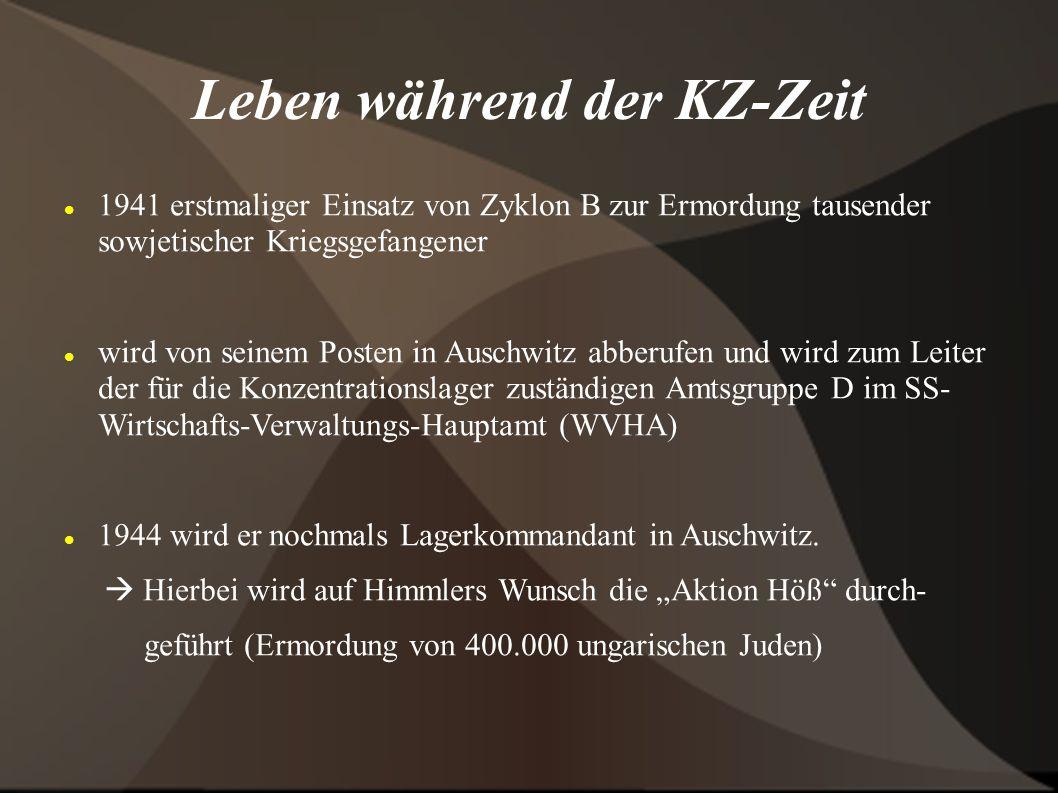 Leben während der KZ-Zeit 1941 erstmaliger Einsatz von Zyklon B zur Ermordung tausender sowjetischer Kriegsgefangener wird von seinem Posten in Auschwitz abberufen und wird zum Leiter der für die Konzentrationslager zuständigen Amtsgruppe D im SS- Wirtschafts-Verwaltungs-Hauptamt (WVHA) 1944 wird er nochmals Lagerkommandant in Auschwitz.