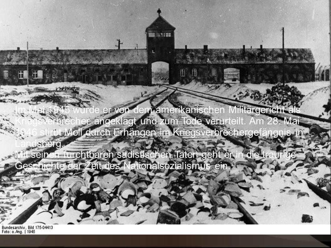 Im Mai 1945 wurde er von dem amerikanischen Militärsgericht als Kriegsverbrecher angeklagt und zum Tode verurteilt.