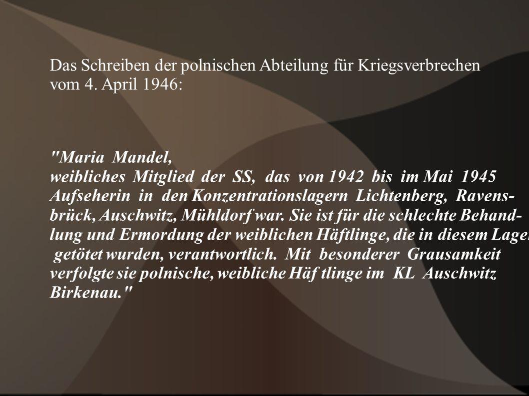 Das Schreiben der polnischen Abteilung für Kriegsverbrechen vom 4.