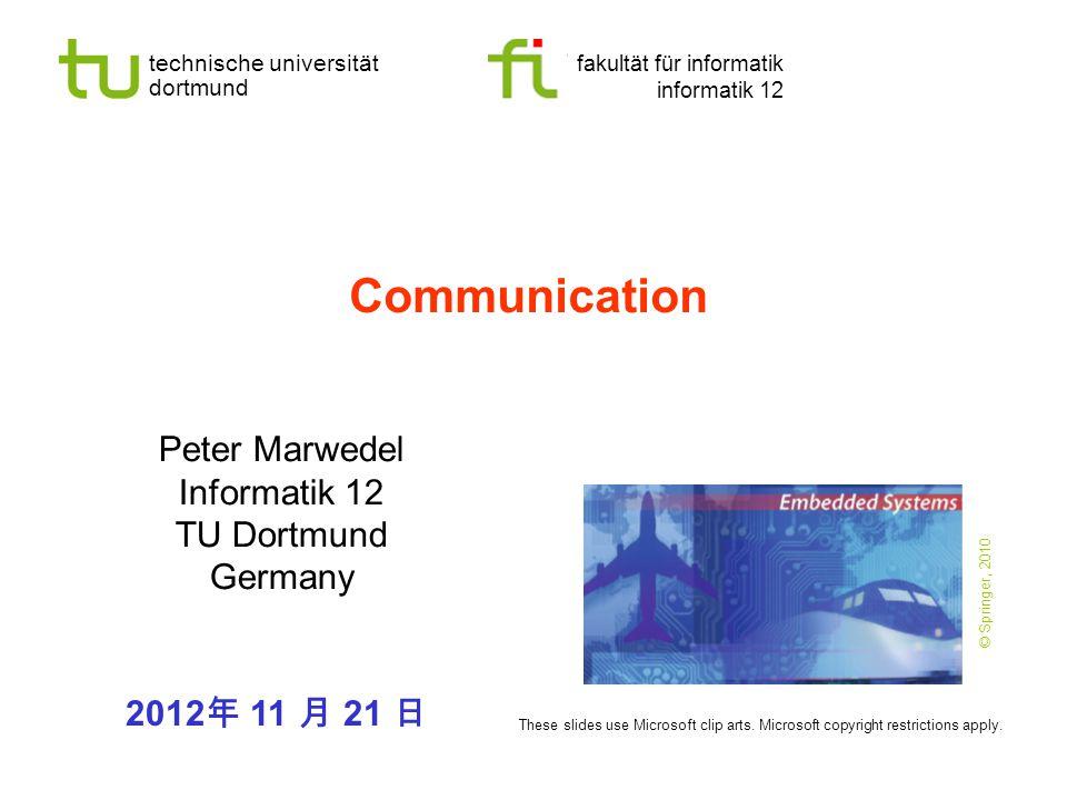 - 22 - technische universität dortmund fakultät für informatik  P.Marwedel, Informatik 12, 2012 TU Dortmund Op-Amps with feedback V out = - g ∙V - (op-amp feature) I∙R 1 +V out -V - =0 (loop rule)  I∙R 1 + - g ∙V - -V - =0  (1+g) ∙V - = I∙R 1 In circuits, negative feedback is used to define the actual gain: - + V out V-V- op-amp ground V1V1 R1R1 R Due to the feedback to the inverted input, R 1 reduces voltage V -.