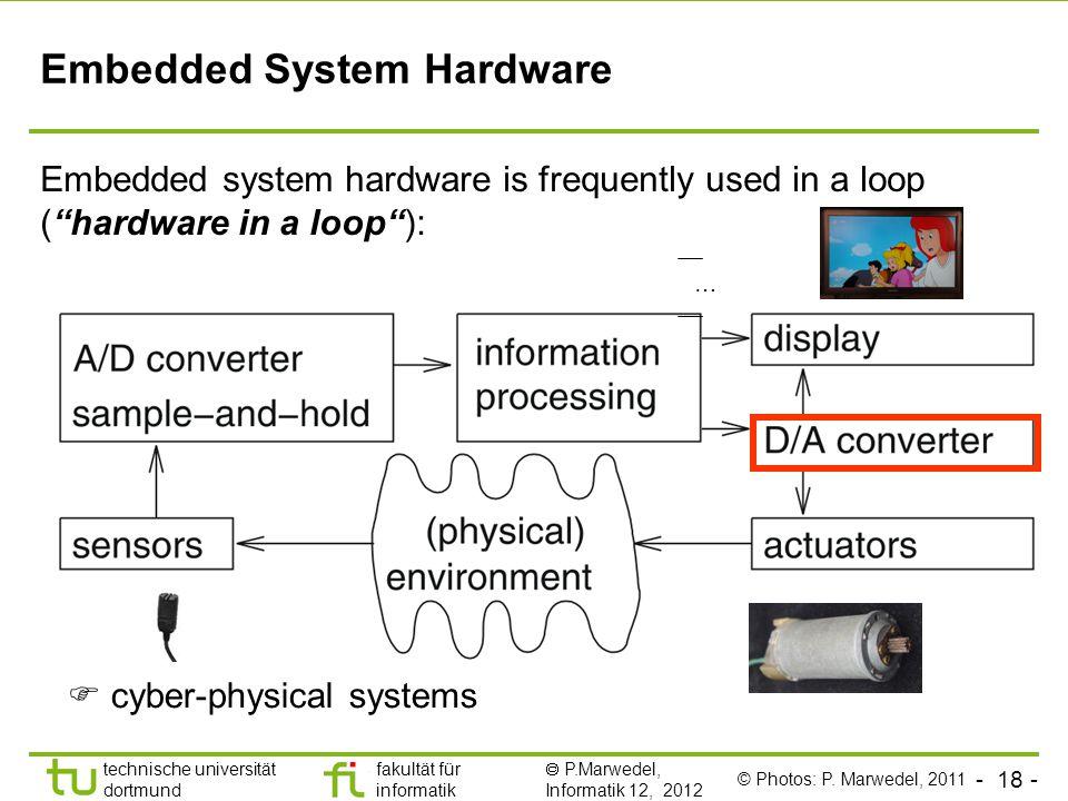 - 18 - technische universität dortmund fakultät für informatik  P.Marwedel, Informatik 12, 2012 TU Dortmund Embedded System Hardware Embedded system