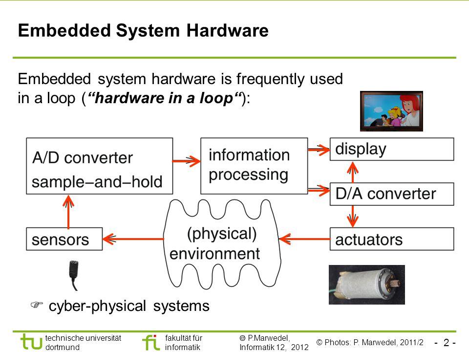- 2 - technische universität dortmund fakultät für informatik  P.Marwedel, Informatik 12, 2012 TU Dortmund Embedded System Hardware Embedded system h