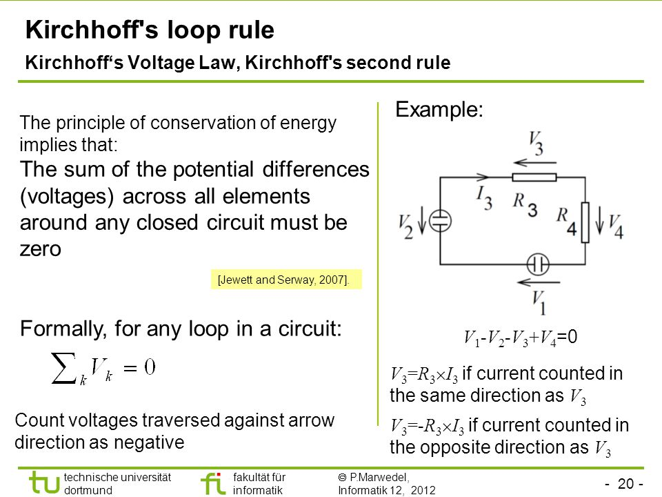 - 20 - technische universität dortmund fakultät für informatik  P.Marwedel, Informatik 12, 2012 TU Dortmund Kirchhoff s loop rule Kirchhoff's Voltage Law, Kirchhoff s second rule The principle of conservation of energy implies that: The sum of the potential differences (voltages) across all elements around any closed circuit must be zero Example: Formally, for any loop in a circuit: Count voltages traversed against arrow direction as negative V 1 -V 2 -V 3 +V 4 =0 V 3 =R 3  I 3 if current counted in the same direction as V 3 V 3 =-R 3  I 3 if current counted in the opposite direction as V 3 [Jewett and Serway, 2007].