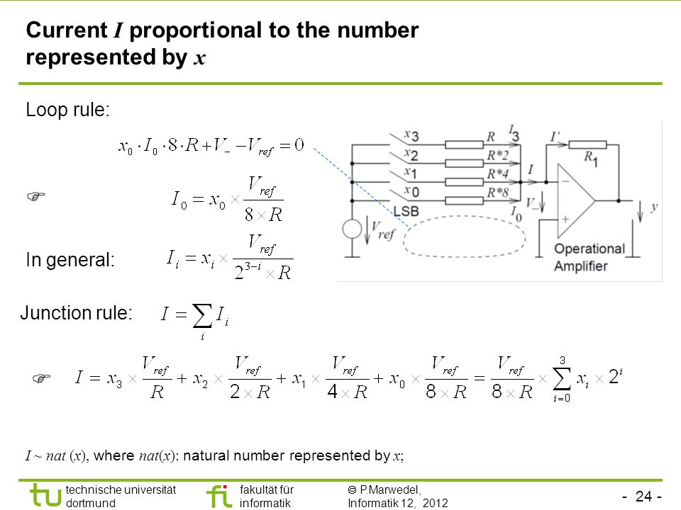 - 24 - technische universität dortmund fakultät für informatik  P.Marwedel, Informatik 12, 2012 TU Dortmund Loop rule: Current I proportional to the number represented by x  Junction rule: In general:  I ~ nat (x), where nat(x): natural number represented by x;