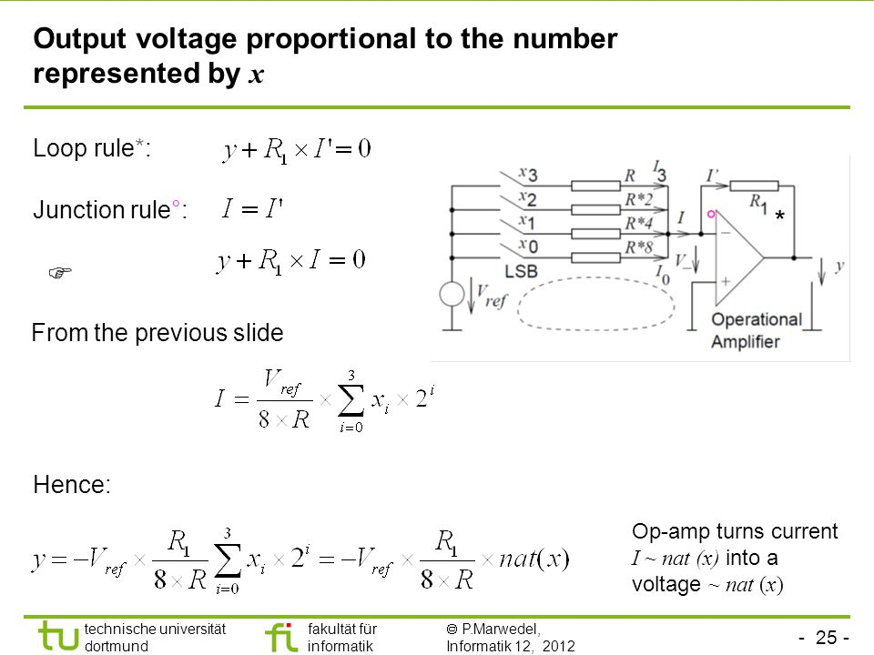 - 25 - technische universität dortmund fakultät für informatik  P.Marwedel, Informatik 12, 2012 TU Dortmund Hence: Output voltage proportional to the number represented by x Op-amp turns current I ~ nat (x) into a voltage ~ nat (x) Loop rule*: Junction rule°:  From the previous slide *°