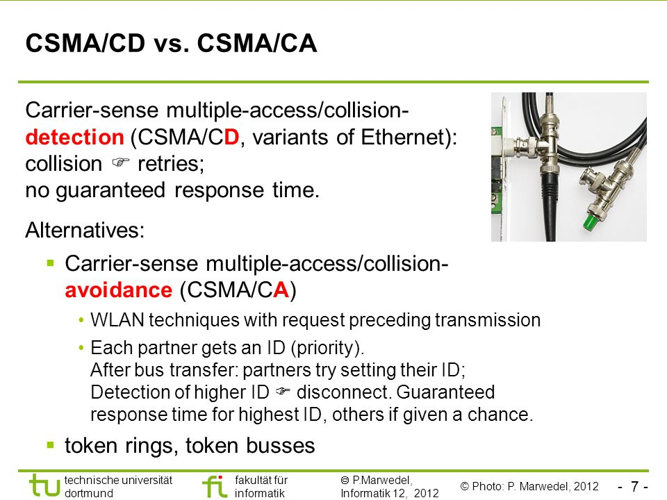 - 7 - technische universität dortmund fakultät für informatik  P.Marwedel, Informatik 12, 2012 TU Dortmund CSMA/CD vs. CSMA/CA Carrier-sense multiple