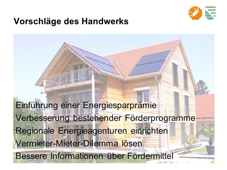 Vorschläge des Handwerks Einführung einer Energiesparprämie Verbesserung bestehender Förderprogramme Regionale Energieagenturen einrichten Vermieter-Mieter-Dilemma lösen Bessere Informationen über Fördermittel