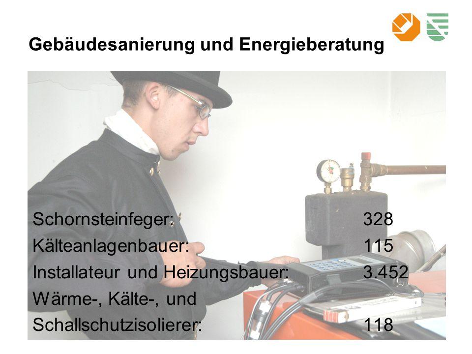 Gebäudesanierung und Energieberatung Schornsteinfeger:328 Kälteanlagenbauer:115 Installateur und Heizungsbauer:3.452 Wärme-, Kälte-, und Schallschutzisolierer:118