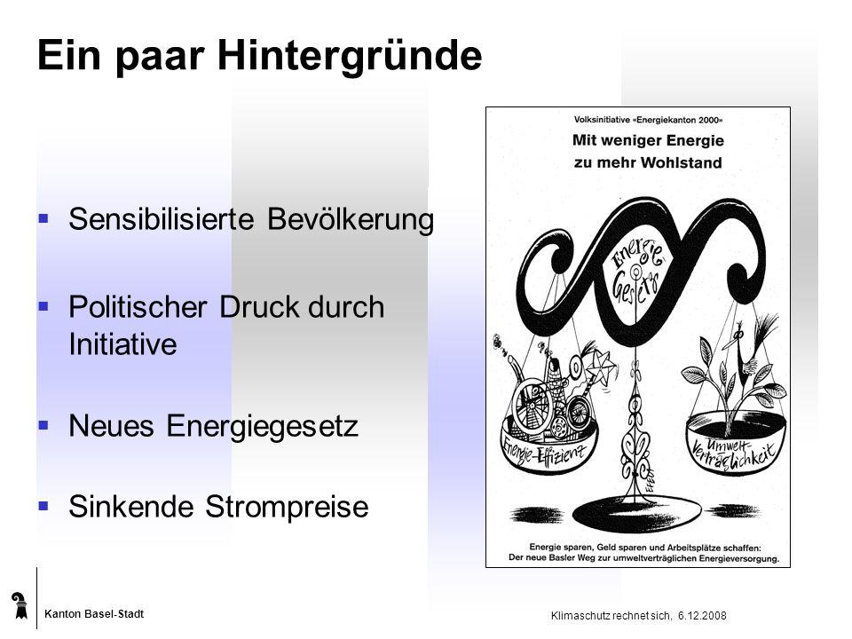 Kanton Basel-Stadt Klimaschutz rechnet sich, 6.12.2008 Ein paar Hintergründe  Sensibilisierte Bevölkerung  Politischer Druck durch Initiative  Neues Energiegesetz  Sinkende Strompreise