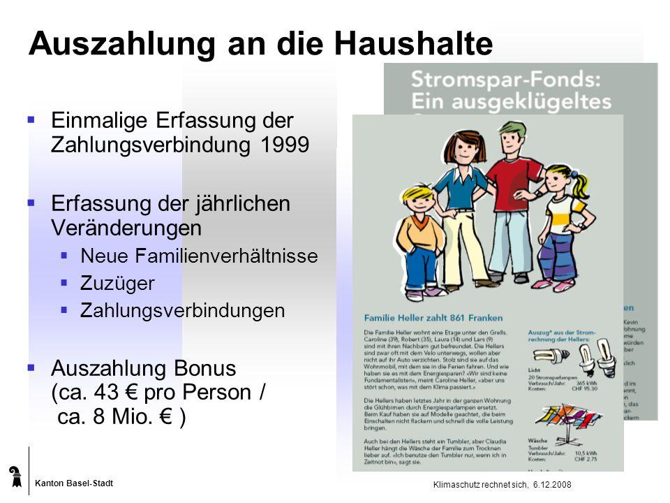 Kanton Basel-Stadt Klimaschutz rechnet sich, 6.12.2008 Auszahlung an die Haushalte  Einmalige Erfassung der Zahlungsverbindung 1999  Erfassung der jährlichen Veränderungen  Neue Familienverhältnisse  Zuzüger  Zahlungsverbindungen  Auszahlung Bonus (ca.