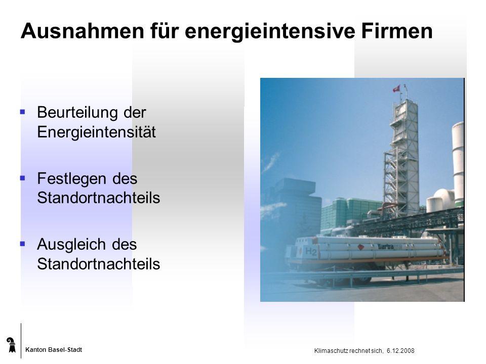 Kanton Basel-Stadt Klimaschutz rechnet sich, 6.12.2008 Ausnahmen für energieintensive Firmen  Beurteilung der Energieintensität  Festlegen des Standortnachteils  Ausgleich des Standortnachteils