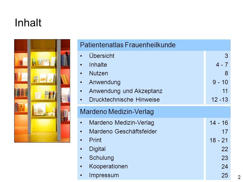 2 Inhalt Patientenatlas Frauenheilkunde Übersicht Inhalte Nutzen Anwendung Anwendung und Akzeptanz Drucktechnische Hinweise 3 4 - 7 8 9 - 10 11 12 -13