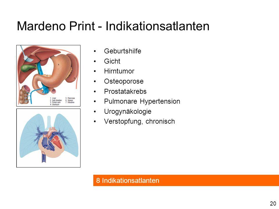 20 Mardeno Print - Indikationsatlanten Geburtshilfe Gicht Hirntumor Osteoporose Prostatakrebs Pulmonare Hypertension Urogynäkologie Verstopfung, chronisch 8 Indikationsatlanten