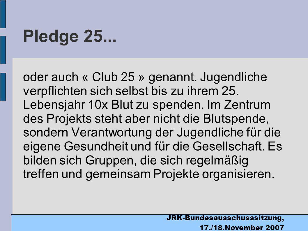 JRK-Bundesausschusssitzung, 17./18.November 2007 Pledge 25...