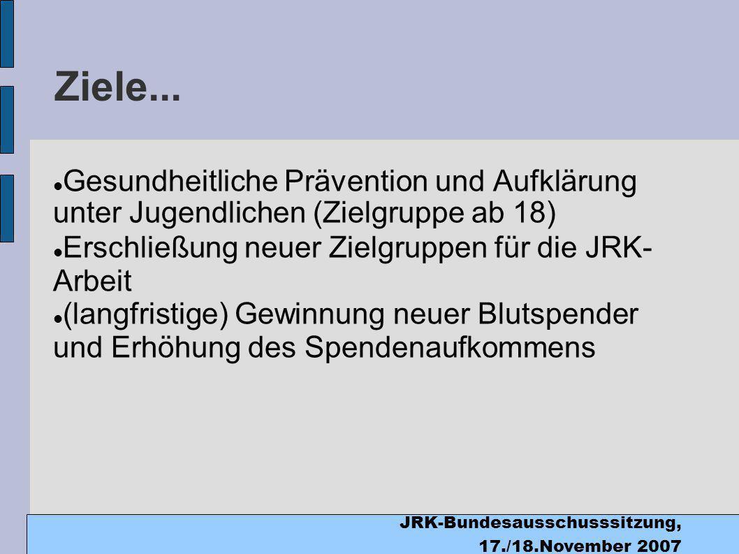 JRK-Bundesausschusssitzung, 17./18.November 2007 Ziele...