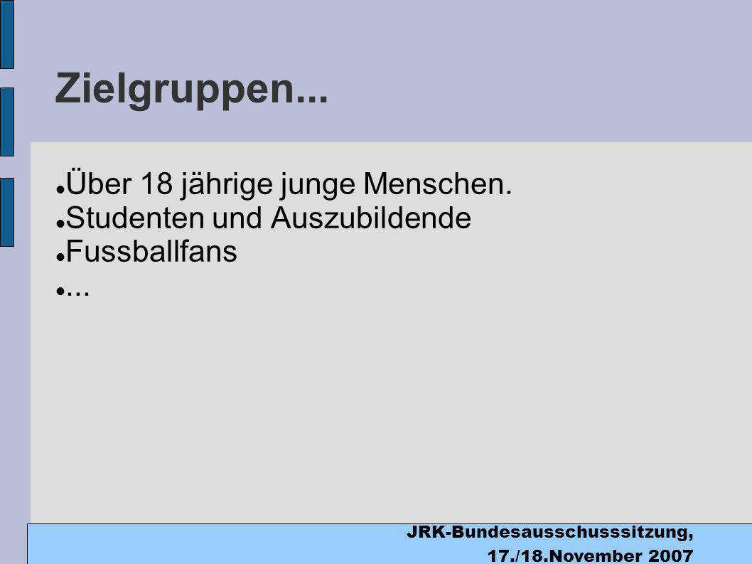 JRK-Bundesausschusssitzung, 17./18.November 2007 Zielgruppen...