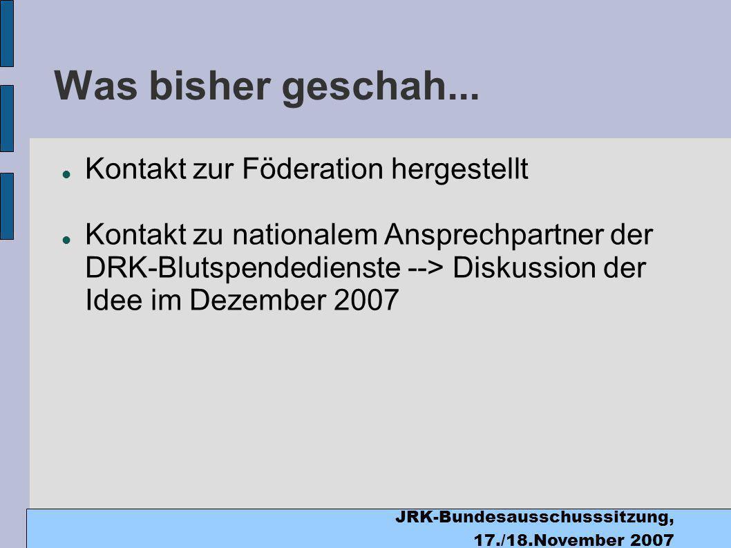 JRK-Bundesausschusssitzung, 17./18.November 2007 Was bisher geschah...