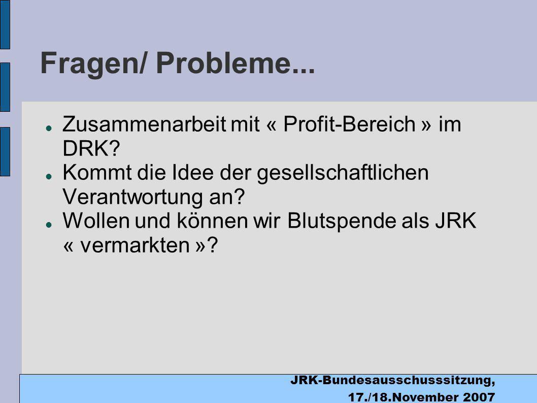 JRK-Bundesausschusssitzung, 17./18.November 2007 Fragen/ Probleme...