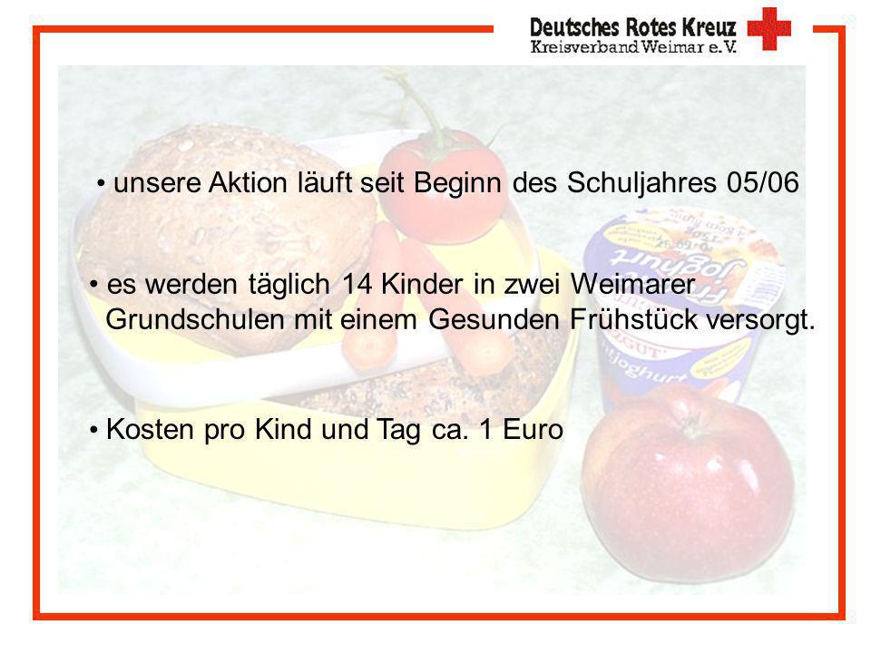 unsere Aktion läuft seit Beginn des Schuljahres 05/06 es werden täglich 14 Kinder in zwei Weimarer Grundschulen mit einem Gesunden Frühstück versorgt.