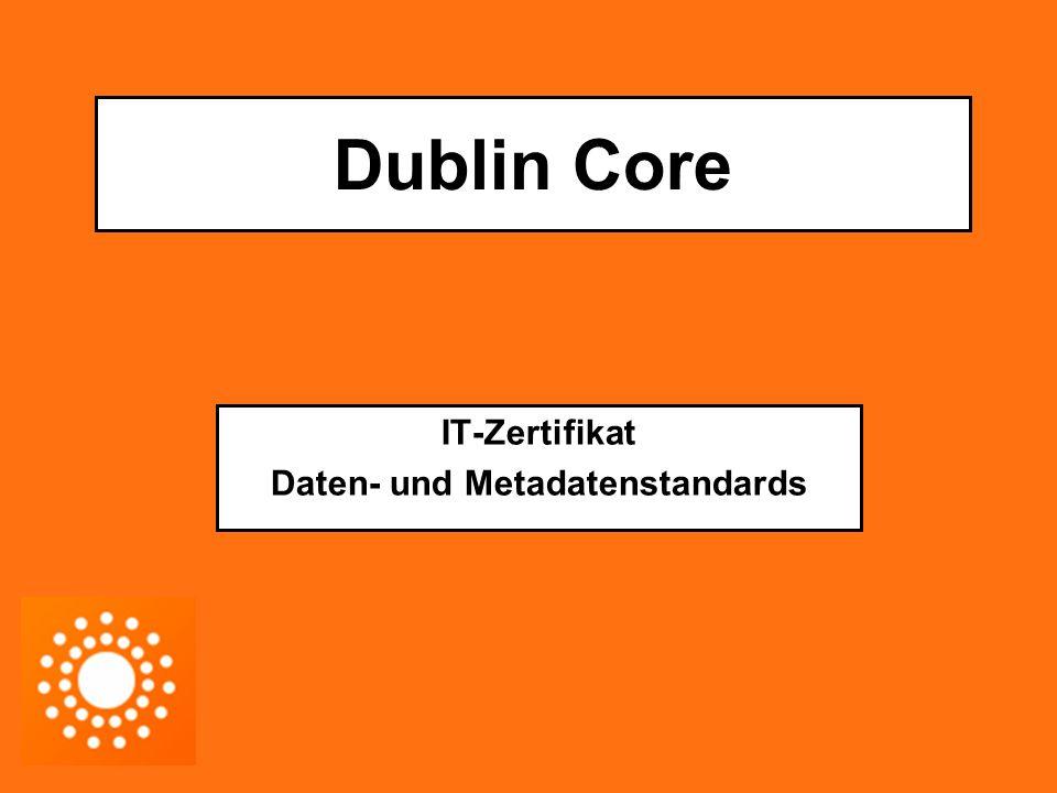 """Dublin Core Metadatenstandard zur Beschreibung von Dokumenten und Objekten im Internet (ISO, ANSI/NISO Standard Klassifizierung)  Kategorisierung von Web-Ressourcen (Beschreibungssprache für Informations-Ressourcen) Entwickelt von der Dublin Core Metadata Initiative (DCMI) : - 1995: Konferenz zum Thema """"Beschreibung und Erschließung von Information in Dublin (Ohio) - Einigung auf Grundmenge von Kategorisierungstermen für Web-Ressourcen Internationales Übereinkommen über Kernmenge von Metadaten (diese sind Ressource Description Framework basiert)"""