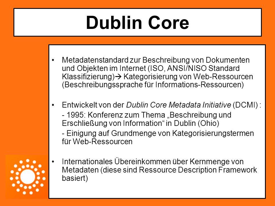 Dublin Core Der Nutzen Standardisierte Beschreibung von (Web)Ressourcen/digitalen Objekten, um sie (per Such- maschine) auffindbar zu machen (Texte, Bilder, Sounddateien, Videos, Webseiten) Die Ziele Einfache Erstellung Allgemein verstehbare Semantiken Internationale Reichweite Erweiterbarkeit
